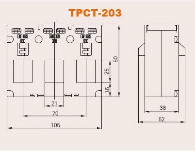 kích thước biến dòng 3 pha TPCT-203